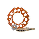 Primary Drive Alloy Kit & Gold X-Ring Chain Orange Rear Sprocket