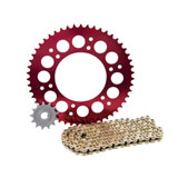 Primary Drive Alloy Kit & Gold X-Ring Chain Red Rear Sprocket