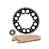 Primary Drive Alloy Kit & Gold Plated MX Race Chain Black Rear Sprocket