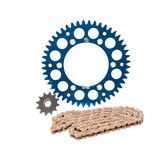 Primary Drive Alloy Kit & Gold Plated MX Race Chain Blue Rear Sprocket