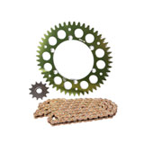 Primary Drive Alloy Kit & Gold Plated MX Race Chain Green Rear Sprocket