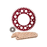 Primary Drive Alloy Kit & Gold Plated MX Race Chain Red Rear Sprocket