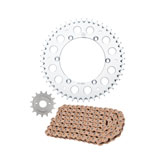 Primary Drive Alloy Kit & Gold Plated MX Race Chain Silver Rear Sprocket