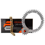 Primary Drive Alloy Kit & Gold X-Ring Chain Silver Rear Sprocket