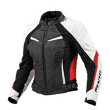 REV'IT! Women's Xena Leather Motorcycle Jacket White/Red