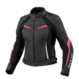 REV'IT! Women's Xena Leather Motorcycle Jacket Black/Pink