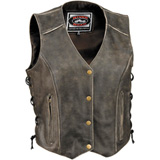 River Road Drifter Distressed Leather Ladies Motorcycle Vest