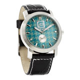 Rockwell Cartel Watch Black Leather Band/Blue Houndstooth Face