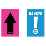 Rocky Mountain ATV/MC Course Marker Black Arrow/Pink Background and Danger Sign/Blue Background