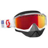 Scott Hustle SnowCross Goggle  White-Red Frame/Amplifier Red Chrome Lens