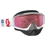 Scott Hustle SnowCross Goggle  White-Red Frame/Amplifier Rose Lens