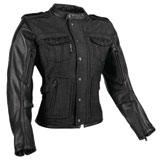 Speed and Strength Six Speed Sisters Ladies Leather-Denim Motorcycle Jacket