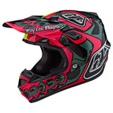Troy Lee SE4 Skully Composite MIPS Helmet Pink/Flo Yellow