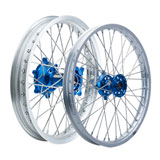 Tusk Impact Complete Front and Rear Wheel Silver Rim/Silver Spoke/Blue Hub