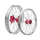 Tusk Impact Complete Front and Rear Wheel Silver Rim/Silver Spoke/Red Hub