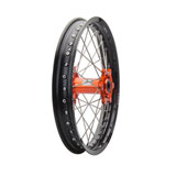 Tusk Impact Complete Wheel - Rear Black Rim/Silver Spoke/Orange Hub