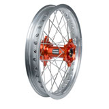 Tusk Impact Complete Wheel - Rear Silver Rim/Silver Spoke/Orange Hub