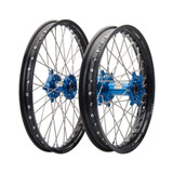 Tusk Impact Complete Front and Rear Wheel Black Rim/Silver Spoke/Blue Hub