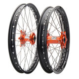 Tusk Impact Complete Front and Rear Wheel Black Rim/Silver Spoke/Orange Hub