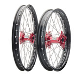 Tusk Impact Complete Front and Rear Wheel Black Rim/Silver Spoke/Red Hub