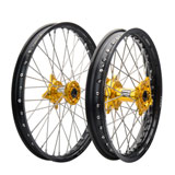 Tusk Impact Complete Front and Rear Wheel Black Rim/Silver Spoke/Yellow Hub