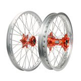 Tusk Impact Complete Front and Rear Wheel Silver Rim/Silver Spoke/Orange Hub