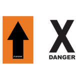 Tusk Course Marker Black Arrow and Danger X Sign