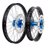 Tusk Impact Complete Front/Rear Wheel Package Black Rim/Silver Spoke/Blue Hub