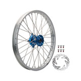 Tusk Impact Complete Front Wheel Package Silver Rim/Silver Spoke/Blue Hub
