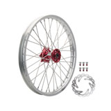Tusk Impact Complete Front Wheel Package Silver Rim/Silver Spoke/Red Hub