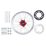 Tusk Impact Complete Rear Wheel Package Silver Rim/Silver Spoke/Red Hub