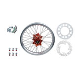 Tusk Impact Complete Rear Wheel Package Silver Rim/Silver Spoke/Orange Hub