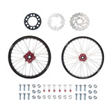 Tusk Impact Complete Front/Rear Wheel Package Black Rim/Silver Spoke/Red Hub