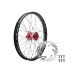 Tusk Impact Complete Front Wheel Package Black Rim/Silver Spoke/Red Hub