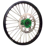 Warp 9 Complete Wheel Kit - Rear Black Rim/Green Hub/Silver Spokes and Nipples