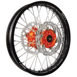 Warp 9 Complete Wheel Kit - Rear Black Rim/Orange Hub/Silver Spokes and Nipples