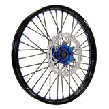 Warp 9 Complete Wheel Kit - Front Black Rim & Spokes/Blue Hub & Nipples