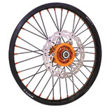 Warp 9 Complete Wheel Kit - Front Black Rim & Spokes/Orange Hub & Nipples
