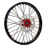 Warp 9 Complete Wheel Kit - Front Black Rim & Spokes/Red Hub & Nipples