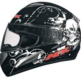 AFX FX-100 Skull Full-Face Motorcycle Helmet