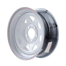 Duro Trailer Wheel, 5 on 4.5 Bolt Pattern 13x5.5 8 Spoke White