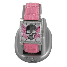Highway Honeys Pink Skull & Wings Ladies Watch