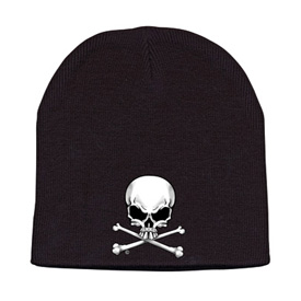 Hot Leathers Embroidered Skull Knit Beanie