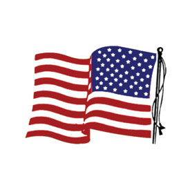 Hot Leathers Helmet Sticker - American Flag, Right Side