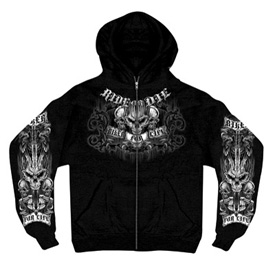 Hot Leathers Ride or Die Zip-Up Hooded Sweatshirt
