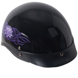 Hot Leathers Shorty Style Lotus Half-Face Ladies Motorcycle Helmet