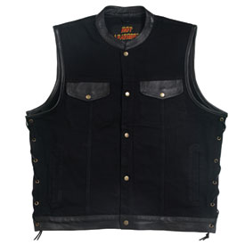 Hot Leathers Denim and Leather Motorcycle Vest