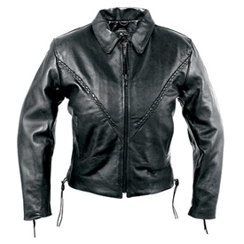 Interstate Leather Crop Ladies Leather Motorcycle Jacket