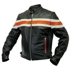 Interstate Leather Orange Stripe Motorcycle Jacket