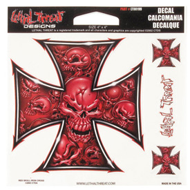 Lethal Threat® Red Skull Cross Decal